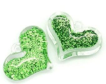 1 green 28x21mm acrylic heart charm