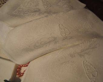 Eight vintage NAPKINS from Table damask silk and Mono HB