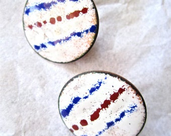80s Earrings Enamel White Red Blue Copper Tone Colors Round Circle Button, Pierced Ears
