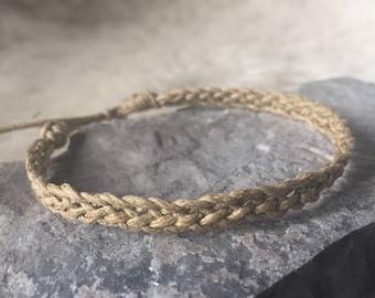 Adjustable Braided Bracelet -- 6 Strand Braid // MTO // Knotted Bracelet // Braided Bracelet // Hemp Jewelry // Natural Jewelry //