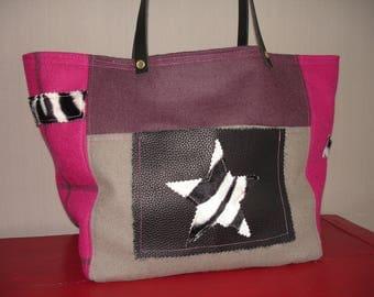 faux fur Zebra print tote bag made of wool - pink - purple - gray - black leather pocket