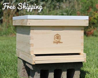 Complete Starter Bee Hive - 8 Frame Langstroth with Deep Brood Box includes Frames / Foundations
