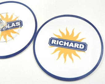 Coaster round Sun pastis coasters personalized custom name
