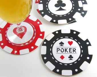 Set of 6 round coasters set of 6 coaster casino poker chips round coaster