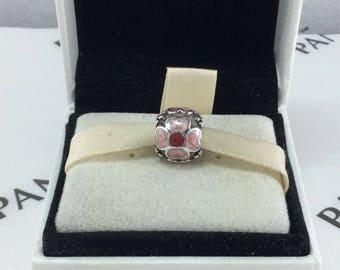 Pandora Retired Pink Enamel Flower Charm