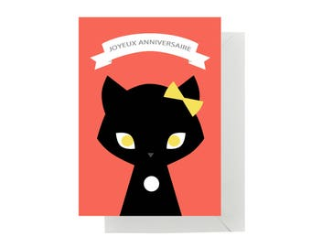 "Card ""Happy birthday"" cat with envelope"