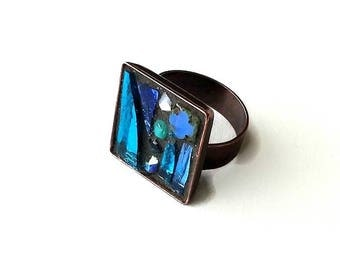 Metal copper colored mosaic square blue Adjustable ring