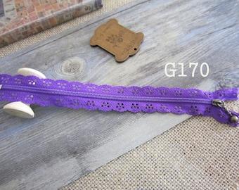 2 x zippers fancy lace lace purple G170 20 cm
