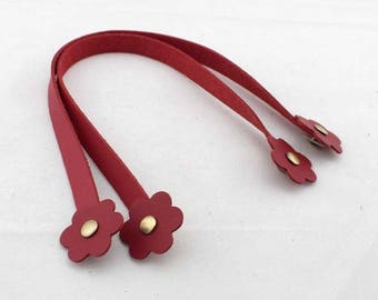 1 flower clip strap for bag handles pair PU faux red leather