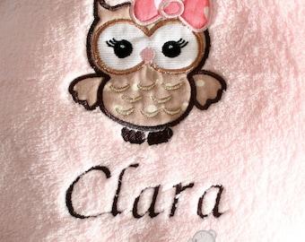 First name and baby OWL fleece blanket