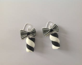 Earrings black white licorice candy