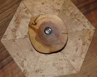 Wooden brooch: Silver eye