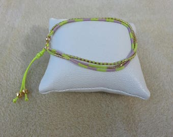 Bracelet 3 rows adjustable chartreuse, purple and gold plated 16 kt Miyuki beads