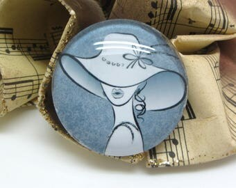 2 cabochons glass woman Hat gray 14 mm - 14 mm