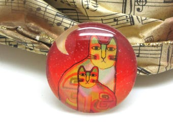 2 cabochons 16 mm glass cat Pop Orange and yellow - 16 mm