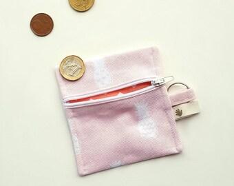 Cotton zipper coin purse.