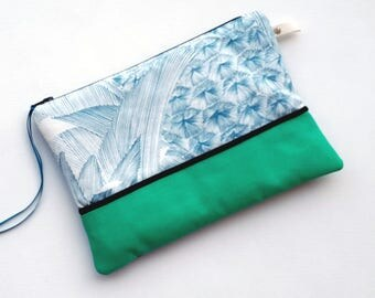 Case / pouch versatile cotton and faux leather zipper 20cm.