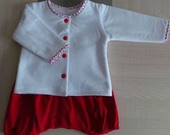 set 6 month white and Red bloomers