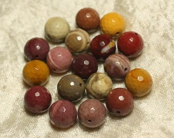 2PC - stone beads - Moukaite Jasper faceted balls 12mm 4558550025937