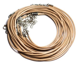 10pc - cou 45cm Beige - 4558550006660 2mm waxed cotton cord towers necklaces