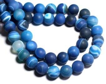 5pc - stone beads - Agate blue matte balls 10mm 4558550020314