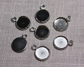 5pc - Supports pendants Cabochons steel stainless round 10 mm - 4558550095190