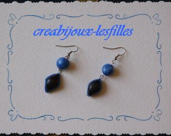 pretty creabijoux - summer 2014 collection earrings black & blue lozenge