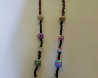 Handmade necklace with colored beads.