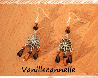Drop earrings vintage silver-plated beads flower prints and magical round Brown and Golden designer jewelry