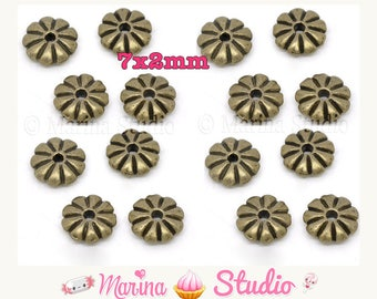 Set of 20 beads / slices / spacer flower bronze 7x2mm (MS13677