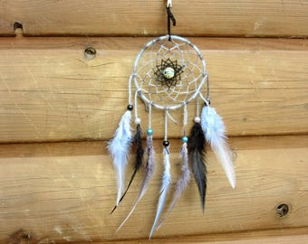 Dream catcher black, grey and light blue / real 30 cm