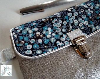 Case clasp - Wilshire blue Liberty linen silver