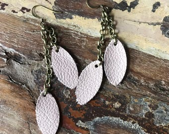 Leather Earrings-leather leaf in blush pink with bronze chain dangle earrings
