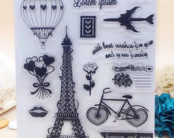 "1 Board with ""PARIS"" large molded clear stamps"