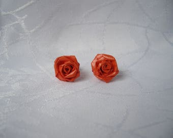 """Roses red"" flower ear studs made of paper"