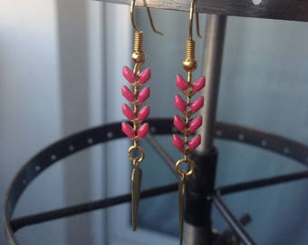 Hippie chic gold and pink earrings
