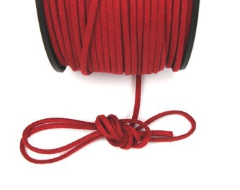 Red suede cord dark 3mm / 1. 5 mm X 1 meter