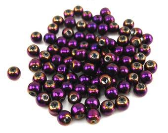 30 metallic 6 mm plum glass beads