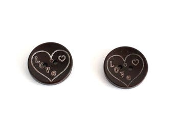 Hearts X 2 PCs printed wooden buttons