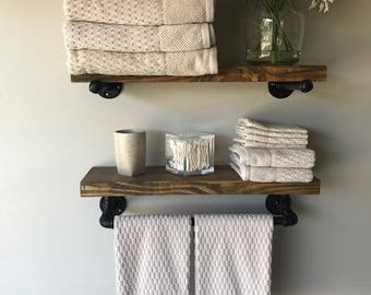 "Rustic Floating Shelves w/Towel Bar (Set of 2) 8"" Deep, Industrial"