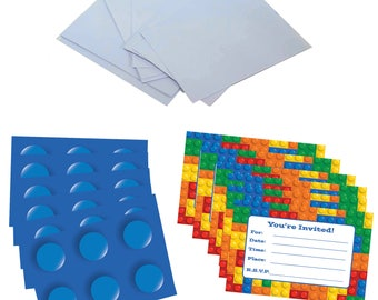 Building Blocks Party Invitations 12 Pack - Size 6 Inches X 4 Inches