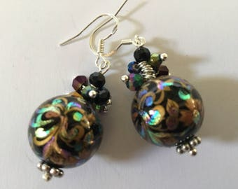 Japanese tensha beads earrings black, gold, pink and green beads above, 925 Silver hooks
