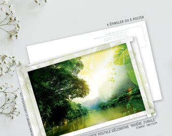 Decorative Jungle river card postcard illustration