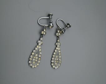 Art Deco paste earrings, silver plated