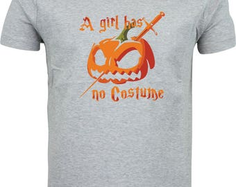 Halloween a girl has no costume pumpkin head funny humour gift full color sublimation t shirt