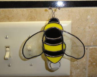 Stained Glass Bee Night Light