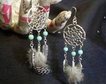 Dream catcher earrings - dreamcatcher - blue