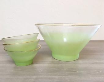 Vintage Blendo Mint & Gold Bowl Set