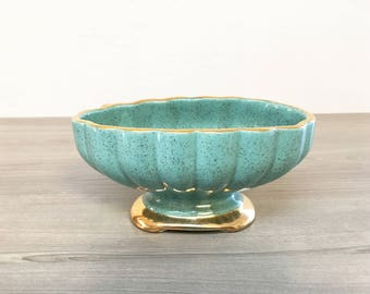 60s Vintage Shafer Speckle Dish - Gold & Turquoise