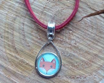 Fox cabochon suede cord necklace